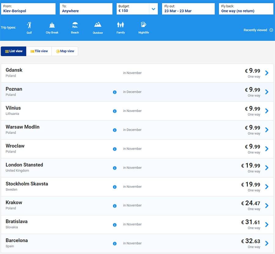 Цены Ryanair